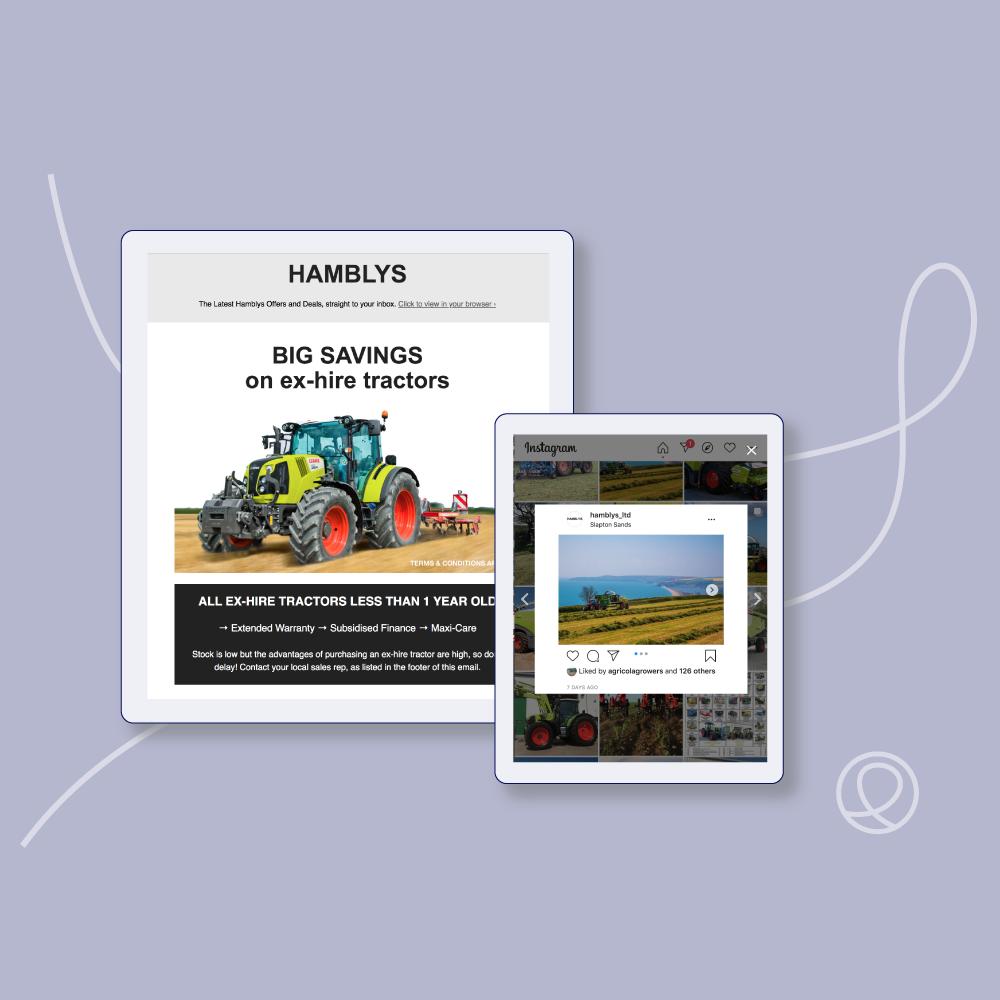 Inbound marketing using MailChimp email and Instagram for Hamblys